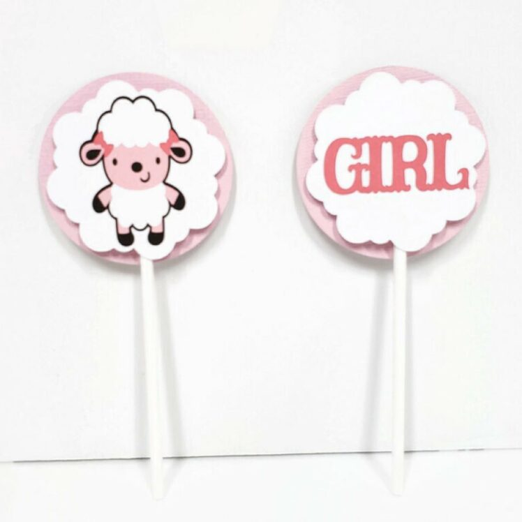 sheep baby girl cupcake toppers