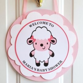sheep girl baby shower door hanger sign