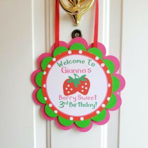 Strawberry Birthday Party Door Sign Berry Sweet Birthday Door Hanger Welcome Sign Red Pink Green Girl Birthday Party Decoration Personalized