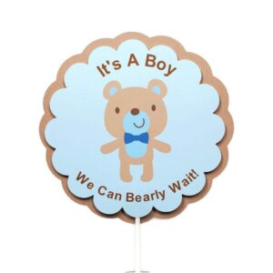 boy teddy bear cake topper baby shower