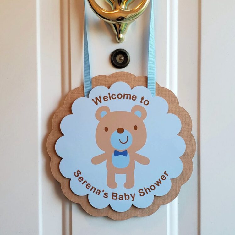 Teddy Bear Baby Shower Welcome Sign Boy