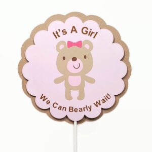 Girl teddy bear cake topper baby shower