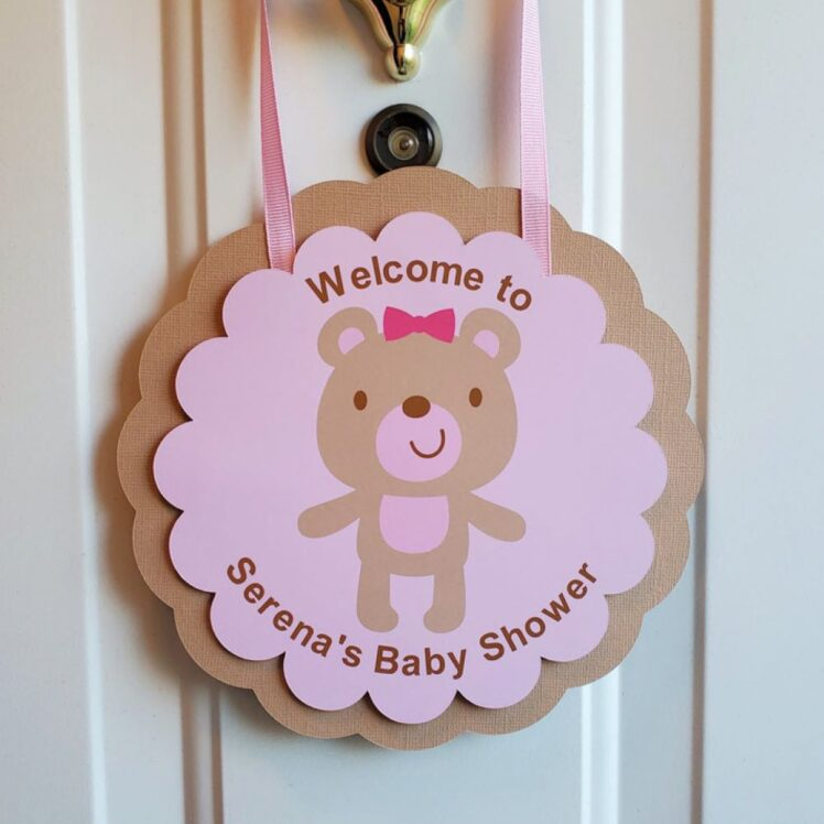 Teddy Bear Baby Shower Welcome Sign Girl