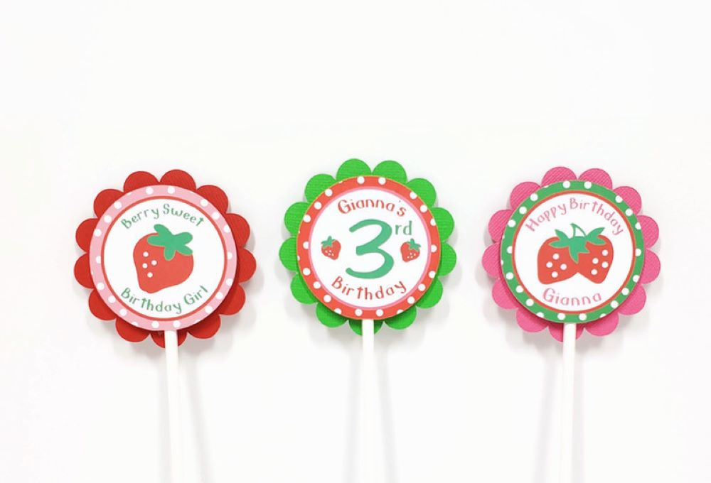 strawberry cupcake toppers berry sweet party