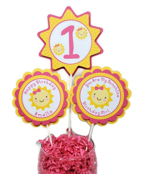 You are my Sunshine Girl 1st Birthday Centerpiece Sticks