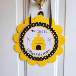 bumble bee baby shower door sign