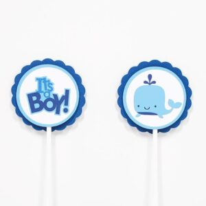 blue whale cupcake toppers