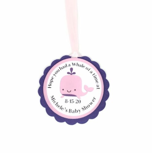 pink whale girl favor tags