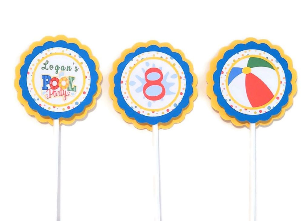 pool party cupcake toppers